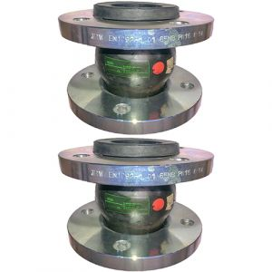 100mm (100NB) Flanged PN16 EPDM Untied Rubber Expansion Joint Set (x2) for Heating Systems
