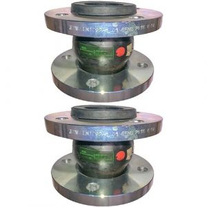 32mm (32NB) Flanged PN16 EPDM Untied Rubber Expansion Joint Set (x2) for Heating Systems