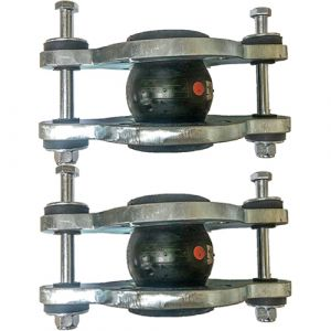 50mm (50NB) Flanged PN16 EPDM Tied Rubber Expansion Joint Set (x2) for Heating Systems