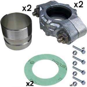 """1 1/4"""" BSPF Stainless Steel PJE Coupling Kit for CRN(E) 1S/1/3/5 Pumps (2 sets inc)"""