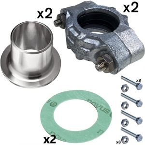 50mm Weld Neck Stainless Steel PJE Coupling Kit for CRN(E) 10/15/20 Pumps (2 sets inc)