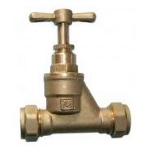 15 mm Compression Fitting Brass Stopcock (Pack of 1)
